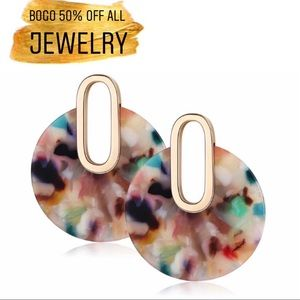 Multicolored Acrylic Circle Gold Drop Earrings
